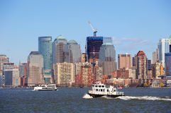 New York City Manhattan skyscrapers and boat Royalty Free Stock Photos