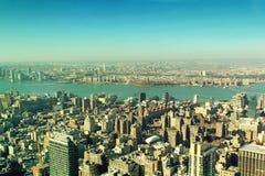 New York Manhattan skyscrapers panoramic vintage look. New York City Manhattan skyscrapers panoramic vintage look Stock Photos