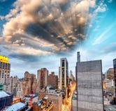 New York City - Manhattan skyscrapers, skyward view Stock Photo