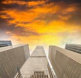 New York City - Manhattan skyscrapers, skyward view Royalty Free Stock Photo