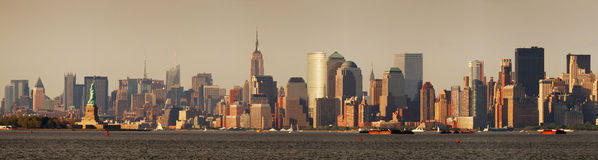 New York City Manhattan with Statue of Liberty Stock Photography