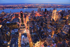New York City Manhattan street aerial Stock Photo