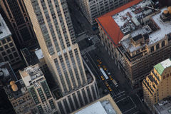 New York City Manhattan street aerial view with skyscrapers Stock Photos