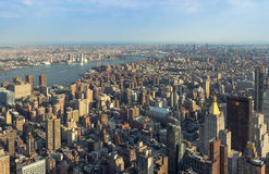 New York City Manhattan street aerial view with skyscrapers Stock Photography