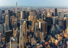 New York City Manhattan street aerial view with skyscrapers Stock Photo