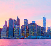 New York City. Manhattan at sunset with modern illuminated skyscrapers Stock Image