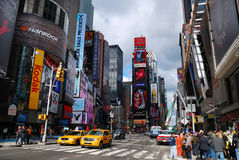 New York City Manhattan Times Square. NEW YORK CITY - SEP 5: Times Square, featured with Broadway Theaters and LED signs, is a symbol of New York City and the stock image