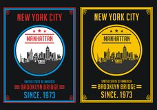 New York City Manhattan, Vector. New York City Manhattan, T shirt Graphic, Vector Image Royalty Free Stock Photos