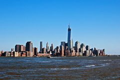 New York city Manhattan view from water Royalty Free Stock Photos