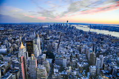 New York City manhattan w the Freedom tower and New Jersey Royalty Free Stock Photos