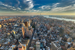 The New York City manhattan w the Freedom tower and New Jersey Stock Image