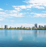 New York City Manhattan water reflection panorama Stock Photos