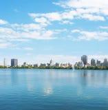 New York City Manhattan water reflection panorama Stock Photos