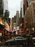 New York City, Manhatten and Times Square. Street-style photograph of New York City, Manhatten, Times square, cars, people Royalty Free Stock Image