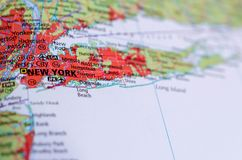 New York City on map. Close up shot of New York City. is the most populous city in the United States Stock Photo