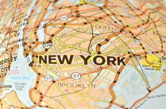 New York City map. Fragment of New York City map. Name New York is written with big characters royalty free stock image