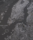 New York City map, satellite view, map in negative Stock Image