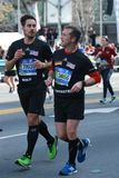 New York City Marathon runners traverse 26.2 miles through all five NYC boroughs to the finish line in Central Park, Manhattan Royalty Free Stock Photo