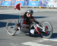 New York City Marathon wheelchair division participants traverse 26.2 miles through all five NYC boroughs royalty free stock photos