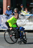 New York City Marathon wheelchair division participants traverse 26.2 miles through all five NYC boroughs royalty free stock photography