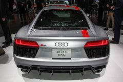 Audi R8 V10 RWS. NEW YORK CITY-MARCH 28: 2018 Audi R8 V10 RWS shown at the New York International Auto Show 2018, at the Jacob Javits Center. This was Press Stock Image