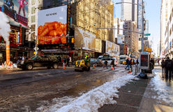 NEW YORK CITY - March 16, 2017: Road working asphalting the infrastructure in a road Stock Images