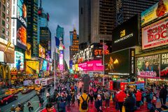 Times Square, iconic street of Manhattan in New York City royalty free stock photos