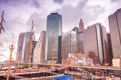NEW YORK CITY - MAY 22, 2013: New York South Street Seaport. The Royalty Free Stock Photos