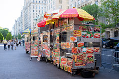 New York City - May 10, 2015: Street vendor carts Stock Images