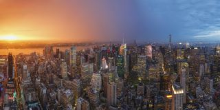 Sunset view of New York City as seen from the Rockefeller Center Observation Deck. New York City, USA. New York City - May 28, 2015: Sunset view of New York stock photography