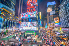 NEW YORK CITY - MAY 22: Traffic in Times Square at night with fl Stock Photography