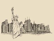 New York City med statyn av frihetvektorn skissar vektor illustrationer