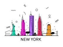 New York City memphis vektorstil, 80-tal, 90-tal royaltyfri illustrationer