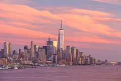 New York City midtown Manhattan sunset skyline panorama view over Hudson River royalty free stock photos