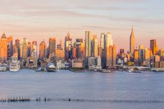 New York City midtown Manhattan sunset skyline panorama view over Hudson River royalty free stock photography