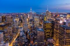 New York City midtown Skyline at night Stock Image