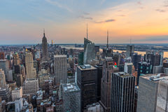 New York City midtown skyline at sunset Stock Image