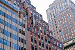 New York City Modern Buildings. Detail of the modern buildings with tiny windows in downtown New York City, Manhattan Island, United States Stock Image