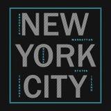 New York City - modern typografi för designkläder, idrotts- t-skjorta Diagram för tryckprodukten, dräkt Emblem för sportswear royaltyfri illustrationer
