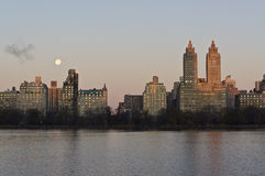 New York City moon over resivoir Stock Images