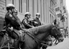 New York City mounted police officers on Wall Street royalty free stock image