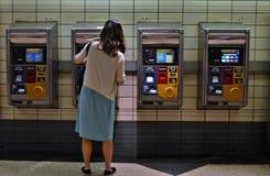 New York City MTA Subway Metro Card Vending Machine People Buying Metrocard Fare Ticket stock photos