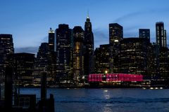 New York City na noite Imagem de Stock Royalty Free