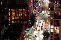New York City na noite - em setembro de 2017 Fotos de Stock Royalty Free