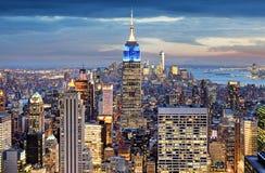 New York City na noite, Manhattan, EUA Fotos de Stock