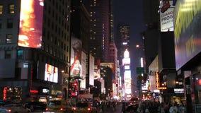 New York City na noite perto do Times Square filme