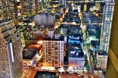 New York City nachts stockbilder