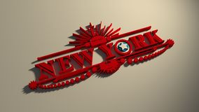 New York city name with flag colors styled letter O Royalty Free Stock Photos