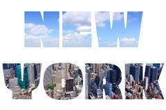 New York. City name - USA travel destination sign on white background Stock Photography