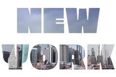 New York City. Name - USA travel destination sign on white background Stock Image